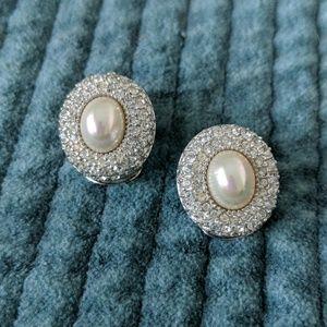 Christian Dior Earrings Pearl Rhinestone